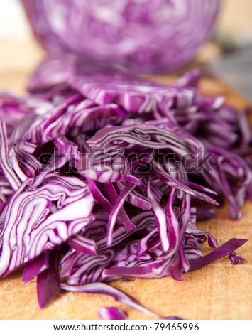Red Cabbage on Wooden Cutting Board
