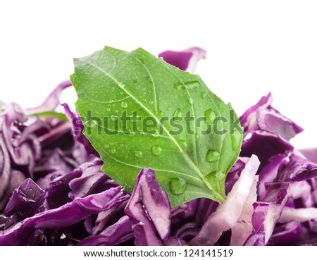 Red cabbage salad with basil leaves on white background
