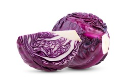 Red cabbage slice isolated on white background.