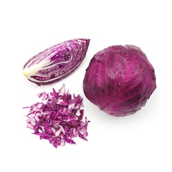 red cabbage with water drop and slice isolated on white background , top view.