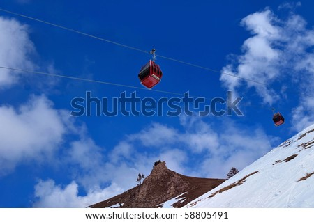 Red cable car on snow mountain, Chamrousse, France