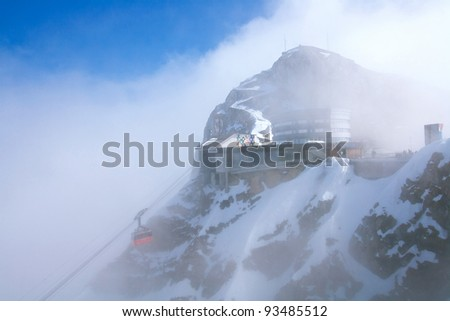 Red cable car railway and landscape of Pilatus Mountain at Lucern Switzerland
