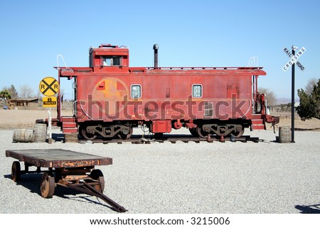 red caboose on display - stock photo
