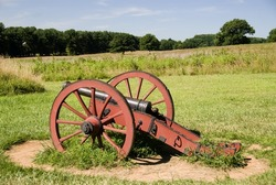 Red caisson or cannon at Valley Forge National Park