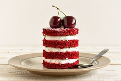 Red cake with cherry. Cake sweet dessert for holiday