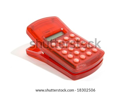red calculator and clip in one