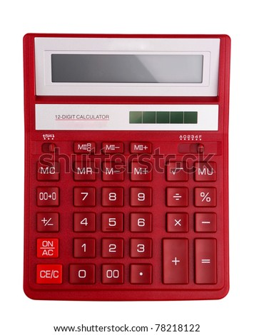 Red calculator - top view isolated on white - stock photo