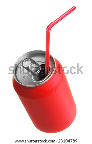 Red can with straw isolated over white background - stock photo