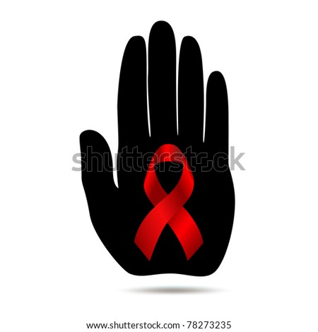 Red cancer ribbon on a black stop hand. Icon.