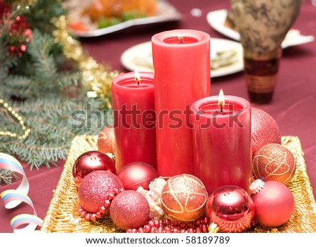 red candles on table