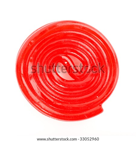 red candy spiral on white background
