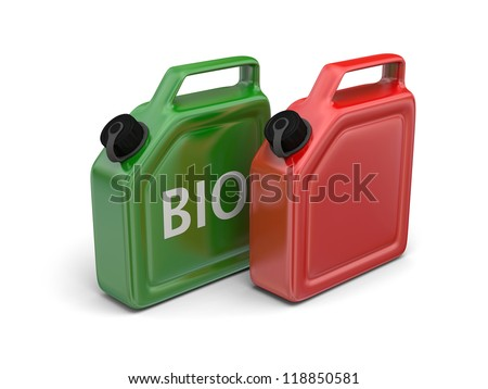 Red canister and green bio fuel jerry can isolated on white background