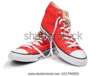 Red canvas sneakers, isolated with clipping path #651740002