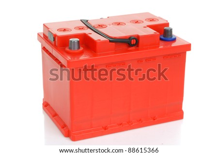 red car battery isolated on white