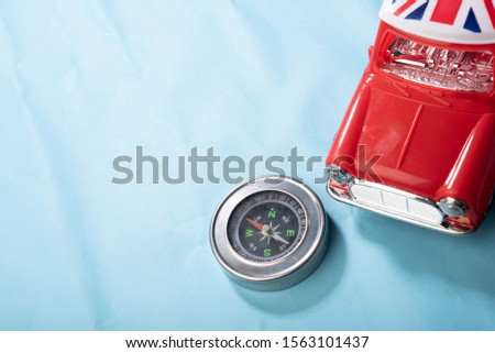 Red car Compass Passport Ideia Tourism illustration #1563101437