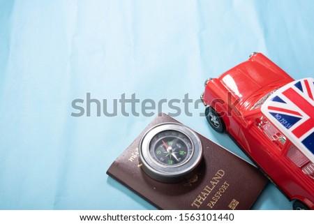 Red car Compass Passport Ideia Tourism illustration #1563101440