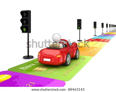 Red car driving on a road made of credit cards.Isolated on white background.3d rendered. - stock photo