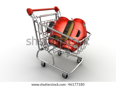 Red car in shopping cart (funny micromachines series)