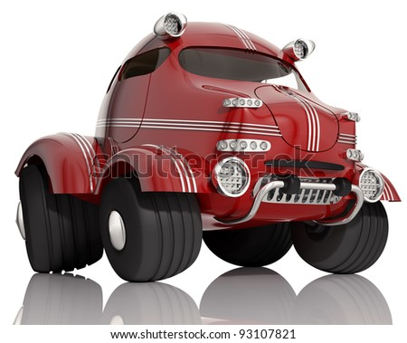 Red car isolated on white background, 3d.