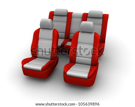 Red car seats isolated on white