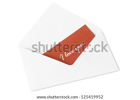 red card with the inscription in a white paper envelope