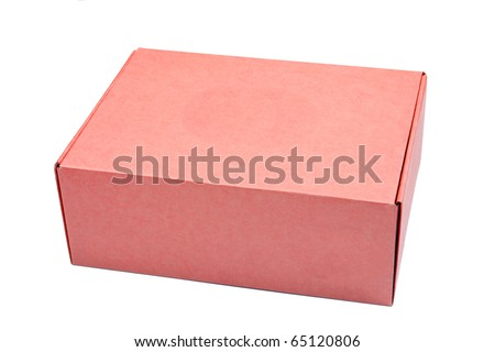 red cardboard box isolated on white background
