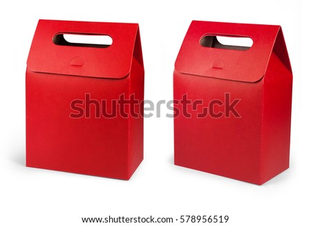 Red Cardboard Carry Box Bag Packaging With Handles For Food, Gift Or Other Products. #578956519