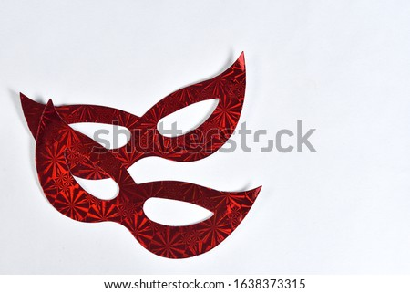 red carnival party costume mask isolated on white background with space for text