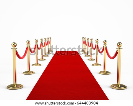 Red carpet and barrier rope isolated on white. 3d render
