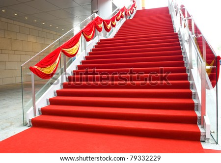 red carpet and marble staircase. stock photo