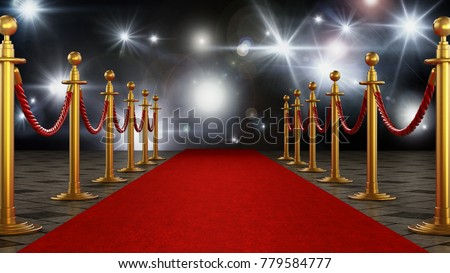 Red carpet and velvet ropes on gala night background. 3D illustration.