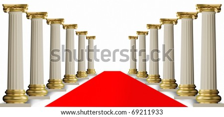 red carpet andClassic Greek Column - stock photo