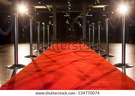 Red carpet between rope barriers.