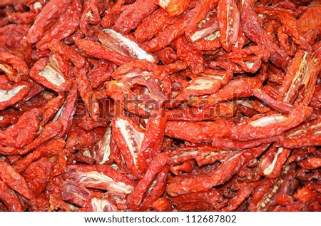 red carpet dried tomatoes in southern Italy for sale at the market
