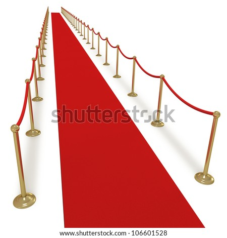 Red carpet for VIPs or celebrities on white background