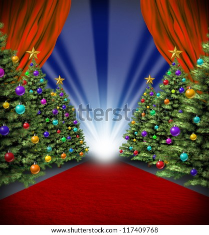 Red carpet holidays with curtains and Christmas trees with decorative ornaments for a Hollywood winter season premier and grand opening celebration and new year blockbuster theatrical performance.