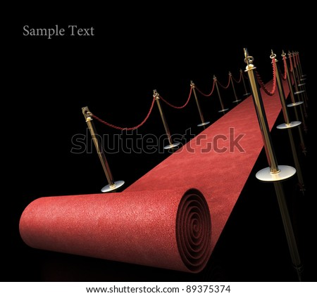 Red carpet isolated on black background High resolution. 3D image