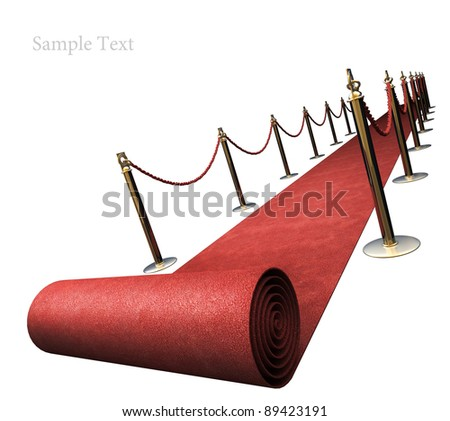 Red carpet isolated on white background High resolution. 3D image