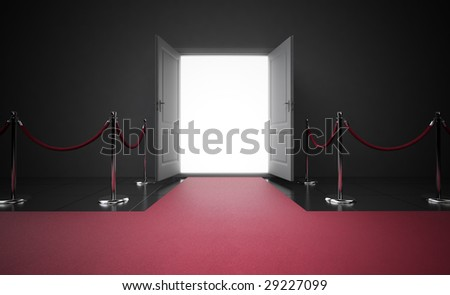 Red carpet leading to the entrance