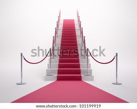 Red carpet leading up the staircase