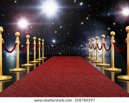 Red carpet night illuminated with flashes