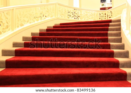 Red carpet on a stairs