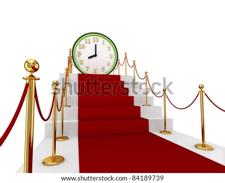 Red carpet on a stairs and green watch. 3d rendered. Isolated on white background.