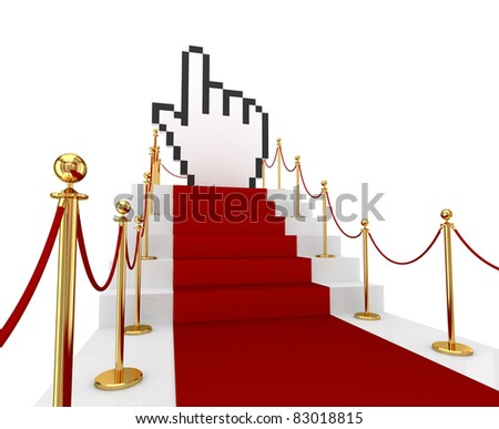 Red carpet on a stairs and large cursor. 3d rendered. Isolated on white background. - stock photo