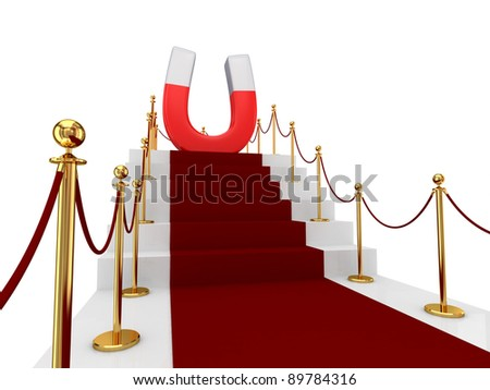Red carpet on a stairs and large magnet above. Isolated on white background.3d rendered.