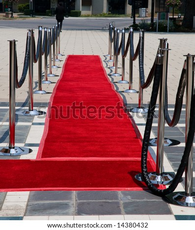 Red carpet on street