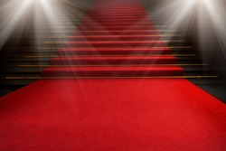Red carpet on the stairs on a dark background. The path to glory, victory and success