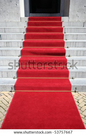 Red carpet on the steps of City Hall