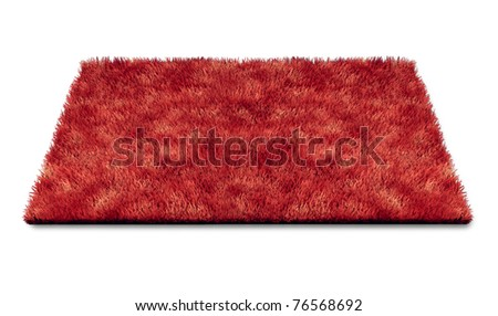 Red carpet piece repesenting luxury and movie star glamour isolated on white.