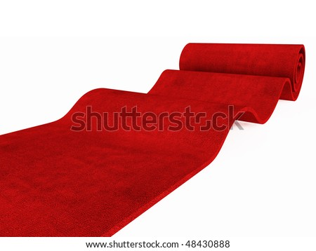 red carpet rolling on white plane 3d image success background